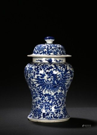A BLUE AND WHITE DRAGON JAR AND COVER