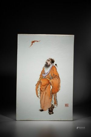 A CHINESE FAMILLE ROSE 'OFFICIAL FIGURE AND BAT' PORCELAIN PANEL