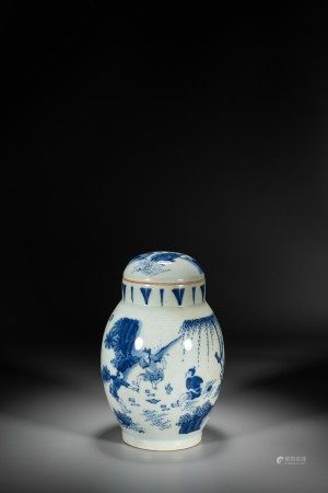 A CHINESE BLUE AND WHITE 'FIGURES' VASE WITH COVER