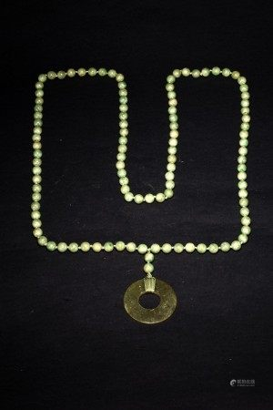 A 108 HARDSTONE BEADS WITH A JADE DISC BI