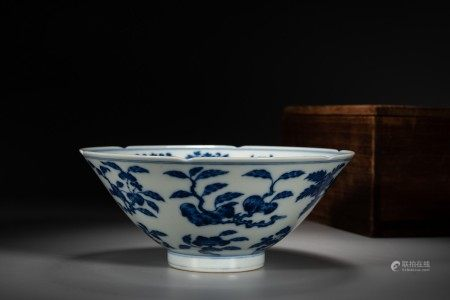 A CHINESE BLUE AND WHITE 'FRUITS' BOWL