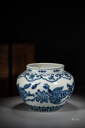 A CHINESE BLUE AND WHITE 'MYTHICAL BEASTS' JAR