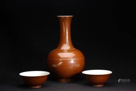 A GROUP OF THREE BROWN GLAZED VASE AND BOWL PAIR