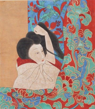 FINE CHINESE COLOR AND INK ON PAPER 'BEAUTY' PAINTING