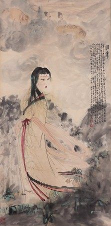 CHINESE COLOR AND INK ON PAPER 'FIGURE' PAINTING