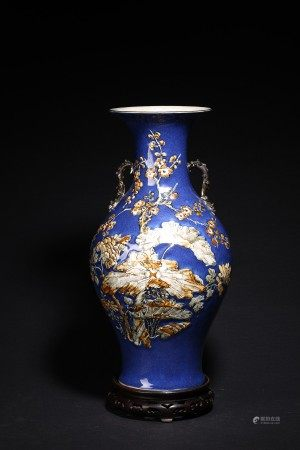 A CHINESE LARGE BLUE GLAZED CARVED 'FLOWERS' VASE