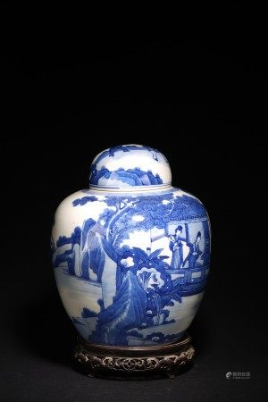 A BLUE AND WHITE 'FIGURES' JAR AND COVER