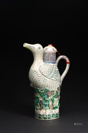 A SANCAI 'DUCK' MODEL EWER AND COVER