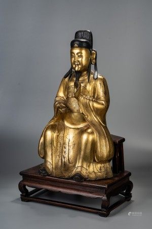 A LARGE CHINESE GILT BRONZE FIGURE OF TAOIST GOD OF WEALTH