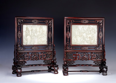 PAIR OF WHITE JADE 'SIXTEEN ARHATS' INSCRIBED ROSEWOOD TABLE SCREENS