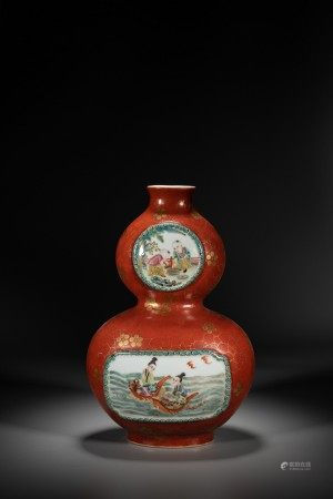 A CHINESE CORAL RED GLAZED DOUBLE GOURD VASE