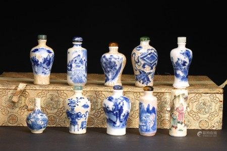 A GROUP OF TEN BLUE AND WHITE SNUFF BOTTLES