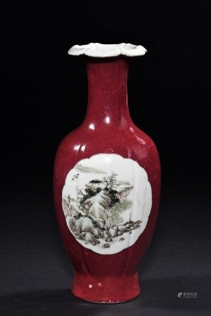A RED GLAZE MEDALLION VASE