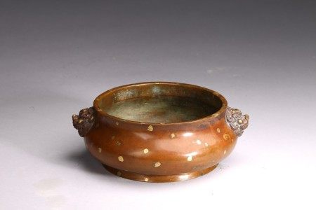 A CHINESE BRONZE CAST GOLD-SPLASHED 'GUI' CENSER