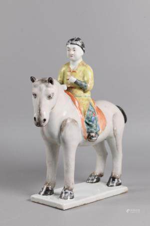 Chinese porcelain horse & rider, possibly 19th c.