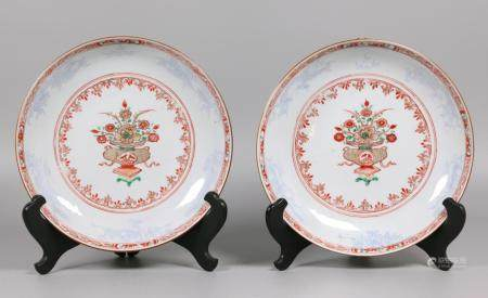 pair of Chinese export porcelain plates, possibly 18th c.
