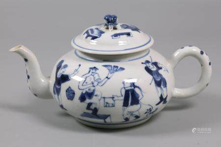 Chinese blue & white porcelain teapot, possibly 19th c.