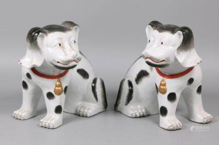 pair of Chinese export porcelain dogs, possibly 18th/19th c.