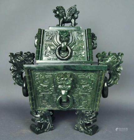 Chinese carved spinach jade censer w/ cover