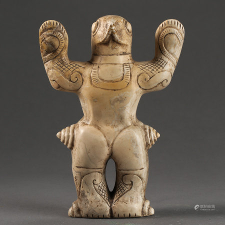 CHINESE RED MOUNTAIN CULTURE, WHITE JADE FROGMAN