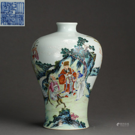 CHINESE ANCIENT FAMILLE ROSE PLUM BOTTLE WITH MARK