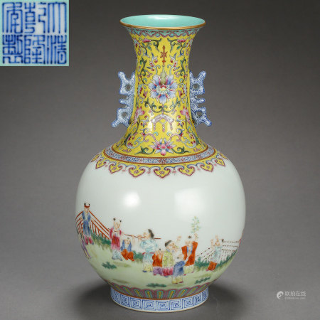 CHINESE ANCIENT FAMILLE ROSE VASE WITH TWO HANDLES WITH MARK, FEATURES BOYS PLAYING UNDER A PINE TREE