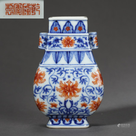 QING DYNASTY, BLUE AND WHITE VASE WITH MARK