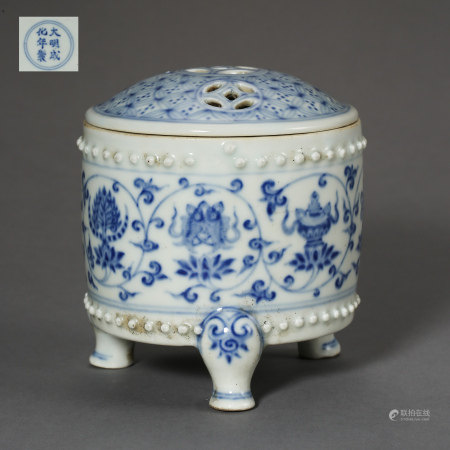 MING DYNASTY, CHINESE BLUE AND WHITE TRIPOD INCENSE BURNER