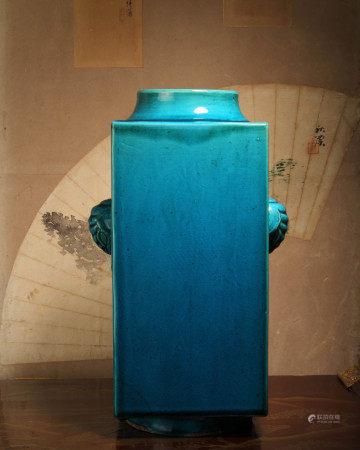 清代 孔雀藍釉象耳琮式瓶