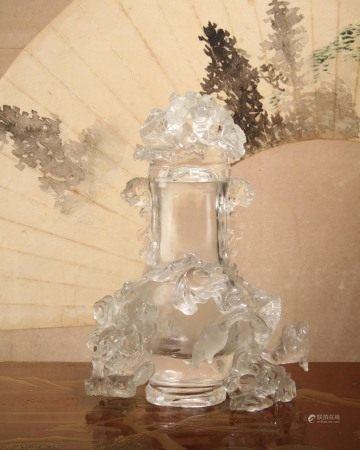 清代 水晶雕龍紋瓶