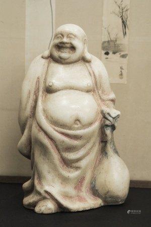 清代 壽山石彩繪彌勒佛像