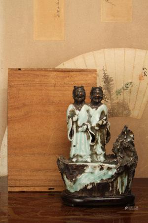 元~明 龍泉窯青瓷和合二仙立像