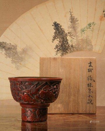 明代 剔紅花鳥紋碗