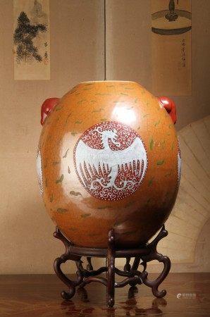 清代 古銅釉粉彩開窗鳳凰文獸耳圓瓶