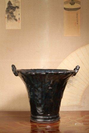 清代 在銘 宜興窯海鼠釉繩耳花盆