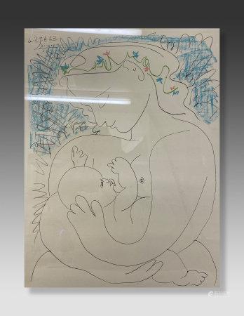 畢加索母愛版畫 帶簽名