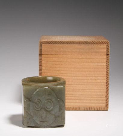 古玉猿形円筒