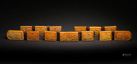 A SET OF BEESWAX BELTS, LIAO OR JIN DYNASTY, CHINA