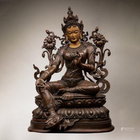 SEATED BRONZE BUDDHA, TIBETAN, CHINA