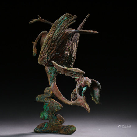 BRONZE EAGLE HUNTING SWANS, LIAO OR JIN DYNASTIES,
