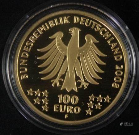 100 Euro Goldmünze 2008, UNESCO Weltkulturerbe Altstadt Goslar - Bergwerk Rammelsberg