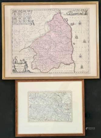Zwei Landkarten, Kupferstich/Radierung, Koloriert