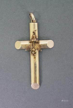 Kreuz-Anhänger aus 14 Karat Gelbgold, 1. Hälfte 20. Jh.