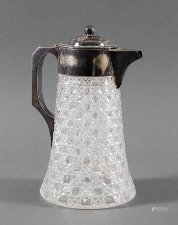 Schwere Kristallkaraffe mit versilberter Montur, 1. Hälfte 20. Jahrhundert