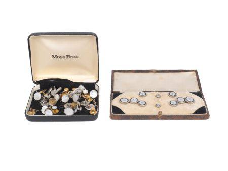 A gentleman's dress set in fitted case, comprising: a pair of cufflinks with four matching dress