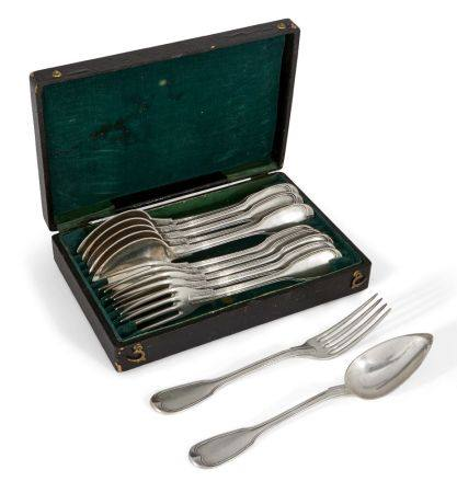 A cased set of French silver tablespoons and forks, with bigorne mark for Paris, 1938-1984,