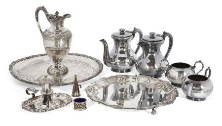 A group of silver plated items comprising: a Walker & Hall silver plated tea set (tea pot, hot water
