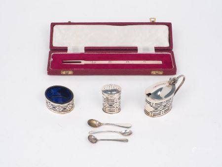 A George V blue glass lined silver condiment set, Chester, c.1914, George Nathan & Ridley Hayes,