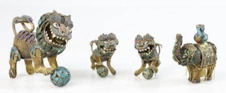 Group of (4) Old Chinese Animal Figures