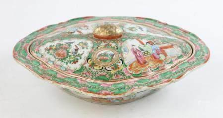 19th C Chinese Rose Medallion Vegetable Dish